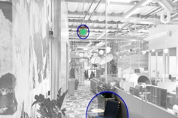 Sala con objetos detectados por una cámara