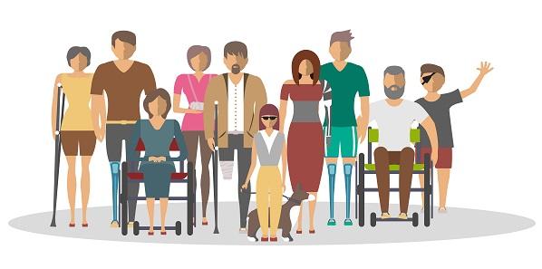 Ilustración que refleja personas con discapacidad