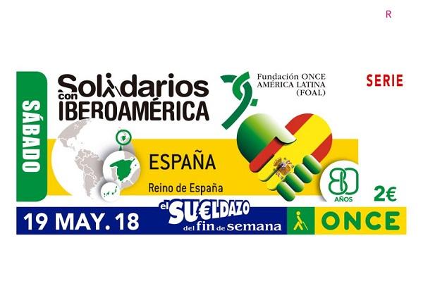 Cupón de ONCE Solidarios con Iberoamérica con la bandera de cuba