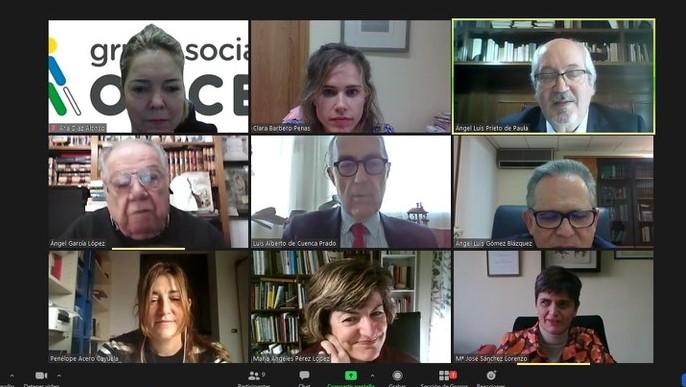 Imagen de la reunión virtual del fallo de los Premios Tiflos de Literatura