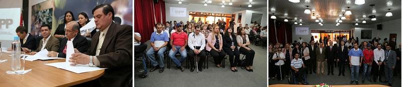 Fotografías del acto con algunos de los poenntes y personas que acudieron al evento (Fuente Ministerio de Trabajo, Empleo y Seguridad Social)
