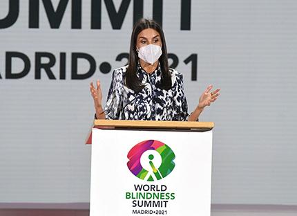 La Reina Letizia, durante su intervención en la Cumbre Mundial de la Ceguera