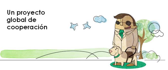 """Dibujo a mano alzada y coloreado de una persona ciega (un hombre) con gafas y su perro guía. Se encuentran en un entorno """"natural"""" (un parque, por ejemplo) y de fondo se muestra un árbol, unas nubes y unos pájaros volando. La corbata de la persona y el collar del perro están coloreados en un tono verde similar al del logo de FOAL.  Este dibujo se muestra a la derecha, mientras que a la izquierda se puede leer la frase:  """"Un proyecto global de cooperación""""."""