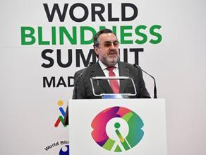 El presidente del Grupo Social ONCE, Miguel Carballeda, durante su intervención en la clausura de la WBS