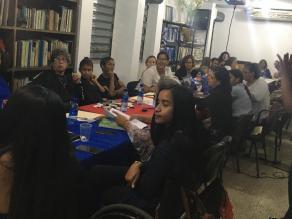 Imagen de uno de los talleres de trabajo con las mujeres con discapacidad para la preparación del informe